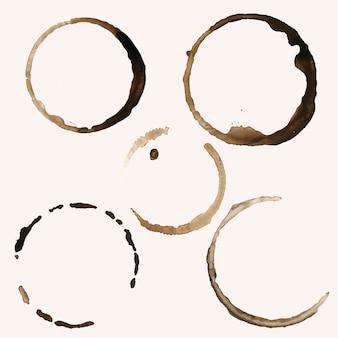 Cinco manchas de anillo de cafe vector