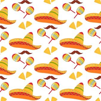 Cinco de mayo. 5 de mayo. sombrero mexicano, nachos, bigote y maracas de patrones sin fisuras.