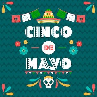 Cinco de mayo con bandera mexicana y calavera