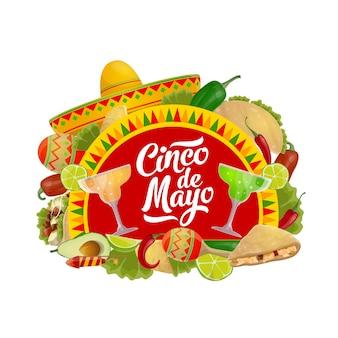 Cinco de mayo comida, bebida y sombrero mexicano