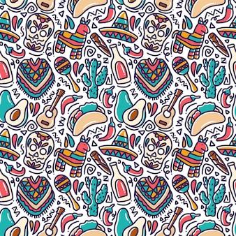 Cinco de mayo doodle mexicano de patrones sin fisuras