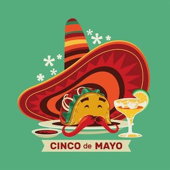 Cinco de mayo fiesta mexicana taco sombrero y cerveza ilustración premium