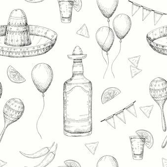 Cinco de mayo de patrones sin fisuras con doodle dibujado a mano símbolos mexicanos: ají, maracas, sombrero, nachos, tequila, globos, guirnalda de bandera. bosquejo. para fondo de pantalla, fondo de la página web