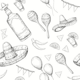 Cinco de mayo de patrones sin fisuras con doodle dibujado a mano símbolos mexicanos: ají, maracas, sombrero, nachos, tequila, globos, guirnalda de bandera. bosquejo.