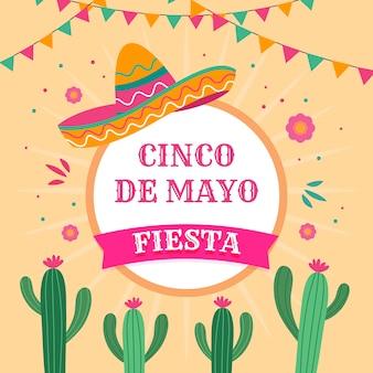 Cinco de mayo con sombrero y cactus
