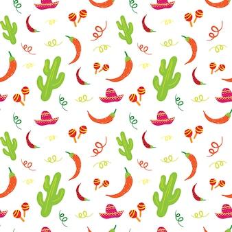 Cinco de mayo vacaciones mexicanas de patrones sin fisuras con cactus, sombrero, maracas y ají