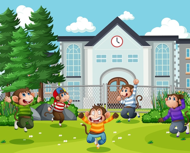 Cinco monitos saltando en la escena del patio del parque.