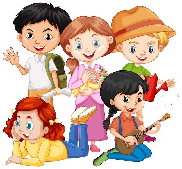 Cinco niños con diferentes pasatiempos.