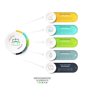 Cinco opciones redondeadas conectadas al círculo blanco del papel principal por líneas. plantilla de diseño de infografía realista moderna. ilustración vectorial para visualización esquemática de los pasos de desarrollo del proyecto de inicio.
