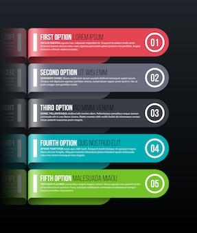 Cinco opciones redondeadas en estilo origami brillante sobre fondo negro