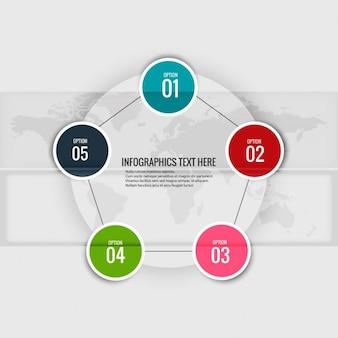 Cinco opciones sobre un pentágono para infografías