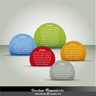 Cinco pasos infográficas circulares