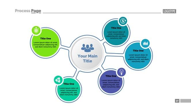 Cinco pasos para la plantilla de diagrama de éxito. datos comerciales gráfico, tabla