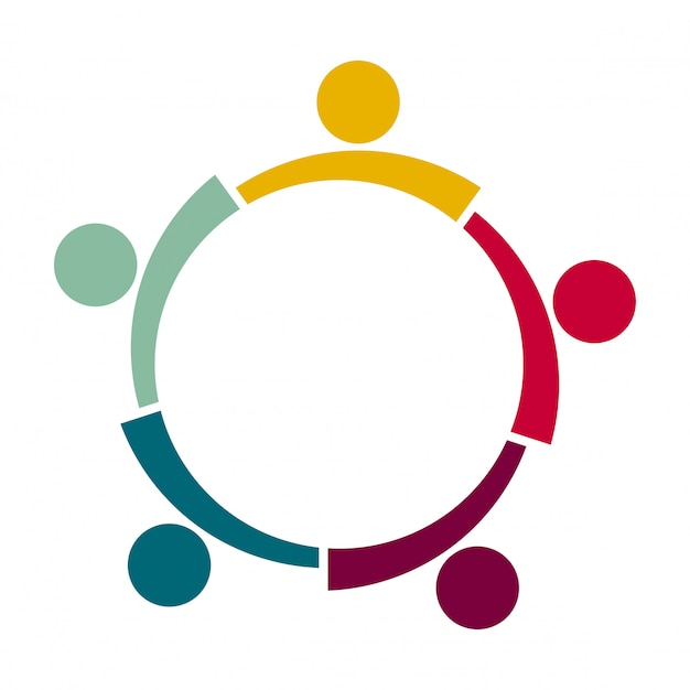 Cinco personas en un círculo cogidos de la mano. los trabajadores de la cumbre se reúnen en la misma sala de poder.