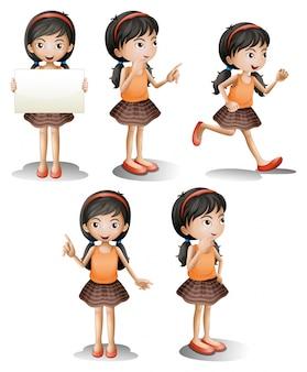 Cinco posiciones diferentes de una niña