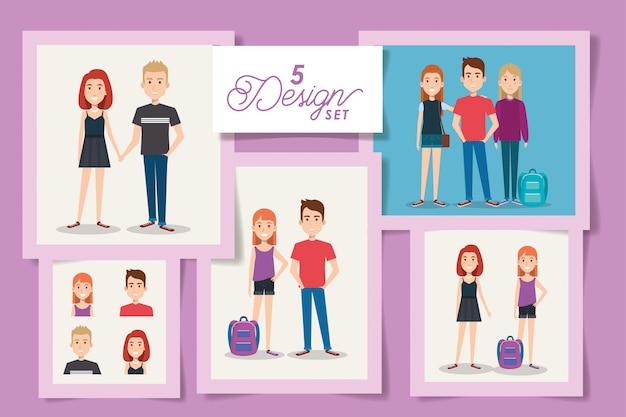 Cinco tarjetas de jóvenes estudiantes.