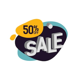 Cincuenta por ciento de descuento letras de venta en blot