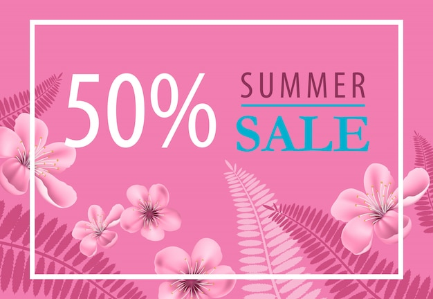 Cincuenta por ciento, diseño de folleto de venta de verano con flores y formas de hoja de helecho