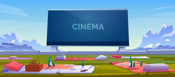 Cine al aire libre con ilustración de mantas de picnic
