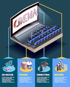 Cine auditorio infografía isométrica