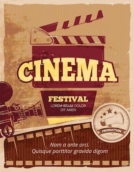 Cine, cartel vintage del festival de cine.