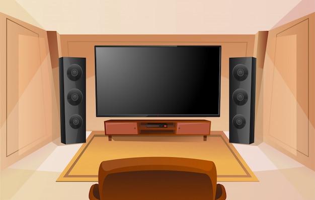 Cine en casa en estilo de dibujos animados con gran televisor