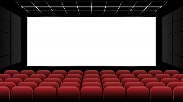 Cine cine con pantalla en blanco y asiento rojo