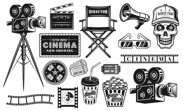 Cine y cinematografía gran conjunto de objetos vectoriales negros o elementos de diseño en estilo vintage aislado sobre fondo blanco.