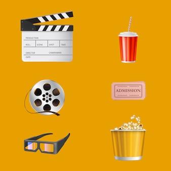 Cine, industria del entretenimiento cinematográfico elementos 3d realistas