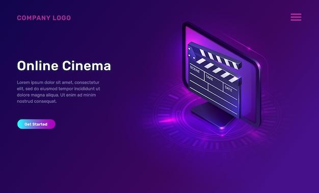 Cine en línea o película, concepto isométrico