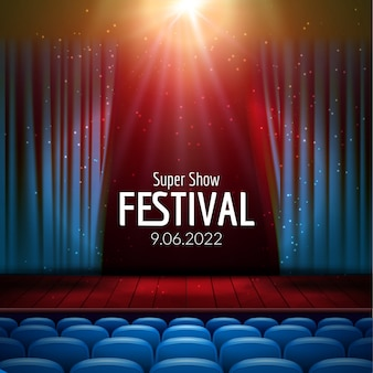 Cine con plantilla de fondo de fila de asientos rojos