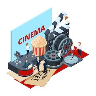 Cine, producción cinematográfica isométrica y concepto de postproducción.