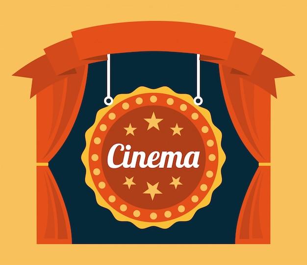 Cine sobre fondo naranja