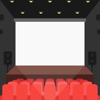 Cine teatro con asientos y pantalla en blanco.