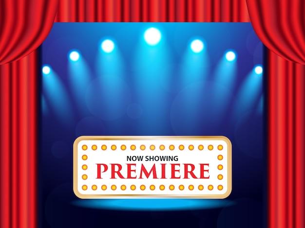 Cine teatro retro señal en cortina con foco.