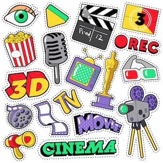 Cinema film television parches, insignias, pegatinas con cámara, tv, cinta. doodle en estilo cómico