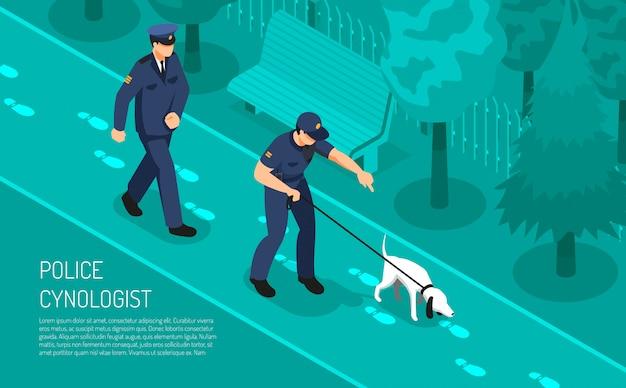 Cinólogo de la policía pasos especiales que siguen el entrenamiento del perro que ayuda a los inspectores detectives en la investigación del crimen composición isométrica ilustración vectorial