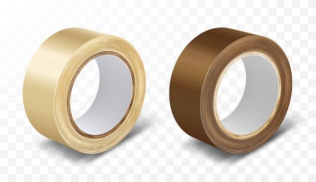 Cinta adhesiva en rollo transparente y marrón
