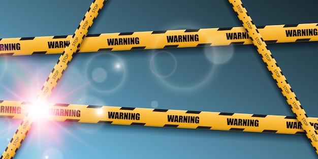 Cinta de advertencia de barrera sobre fondo transparente. ilustración.