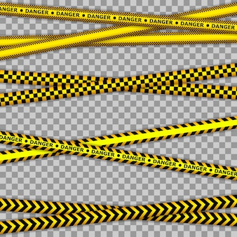 Cinta amarilla de la escena del crimen, cinta de la línea policial no cruce. líneas de advertencia abstractas para policía, accidente, en construcción.