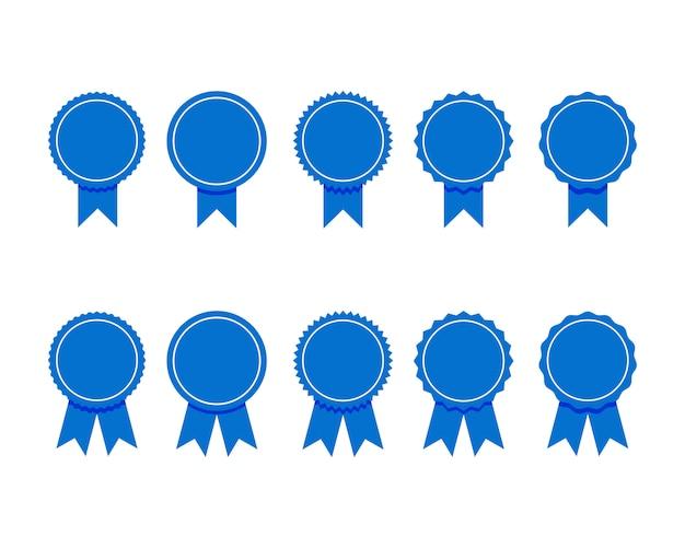 Cinta azul. conjunto de calidad premium y etiquetas de garantía aisladas