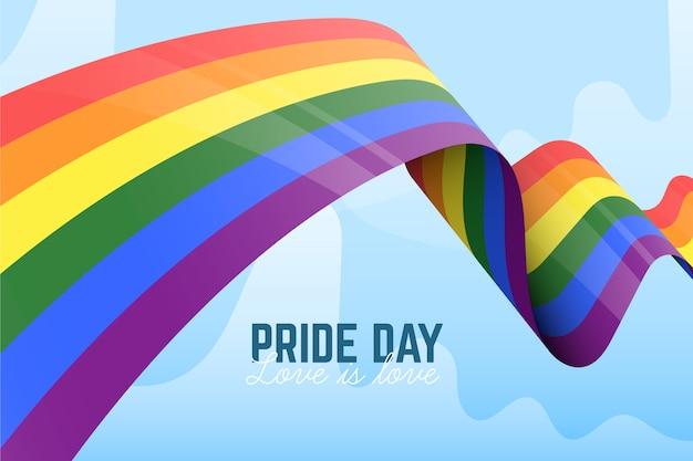 Cinta de la bandera del día del orgullo en el fondo del cielo