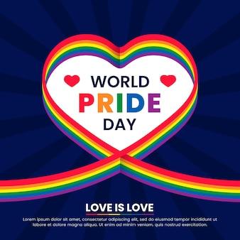 Cinta de la bandera del día del orgullo con fondo de corazón