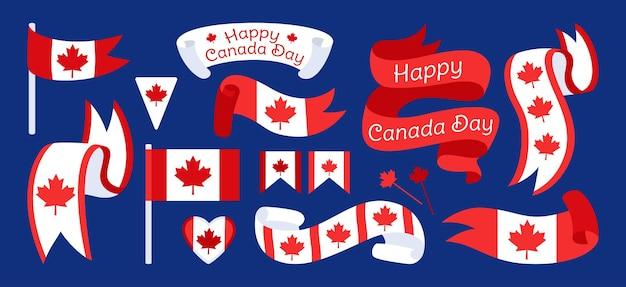 Cinta y bandera feliz día de canadá, cinta plana con etiqueta de patriotismo de hoja de arce, guirnalda
