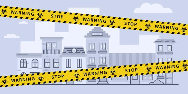 Cinta de barrera de bloqueo de virus sobre la ciudad. pandemia. señal de advertencia de peligro biológico. ilustración de stock en diseño plano. Vector Premium
