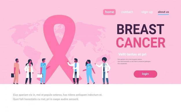 Cinta cáncer de mama día mezcla raza masculina doctoras grupo foro comunicación banner