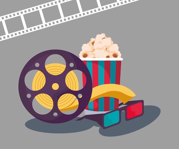 Cinta de carrete de cine con anteojos y palomitas de maíz