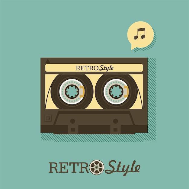 Cinta de casete. música retro. cartel para una fiesta retro