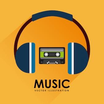 Cinta de cassette de música y diseño gráfico de auriculares