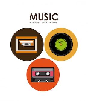 Cinta de cassette de música y diseño gráfico de vinilo